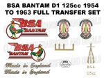 BSA Bantam D1 Green Breasted 1954 to 1963 Transfer Decal Set